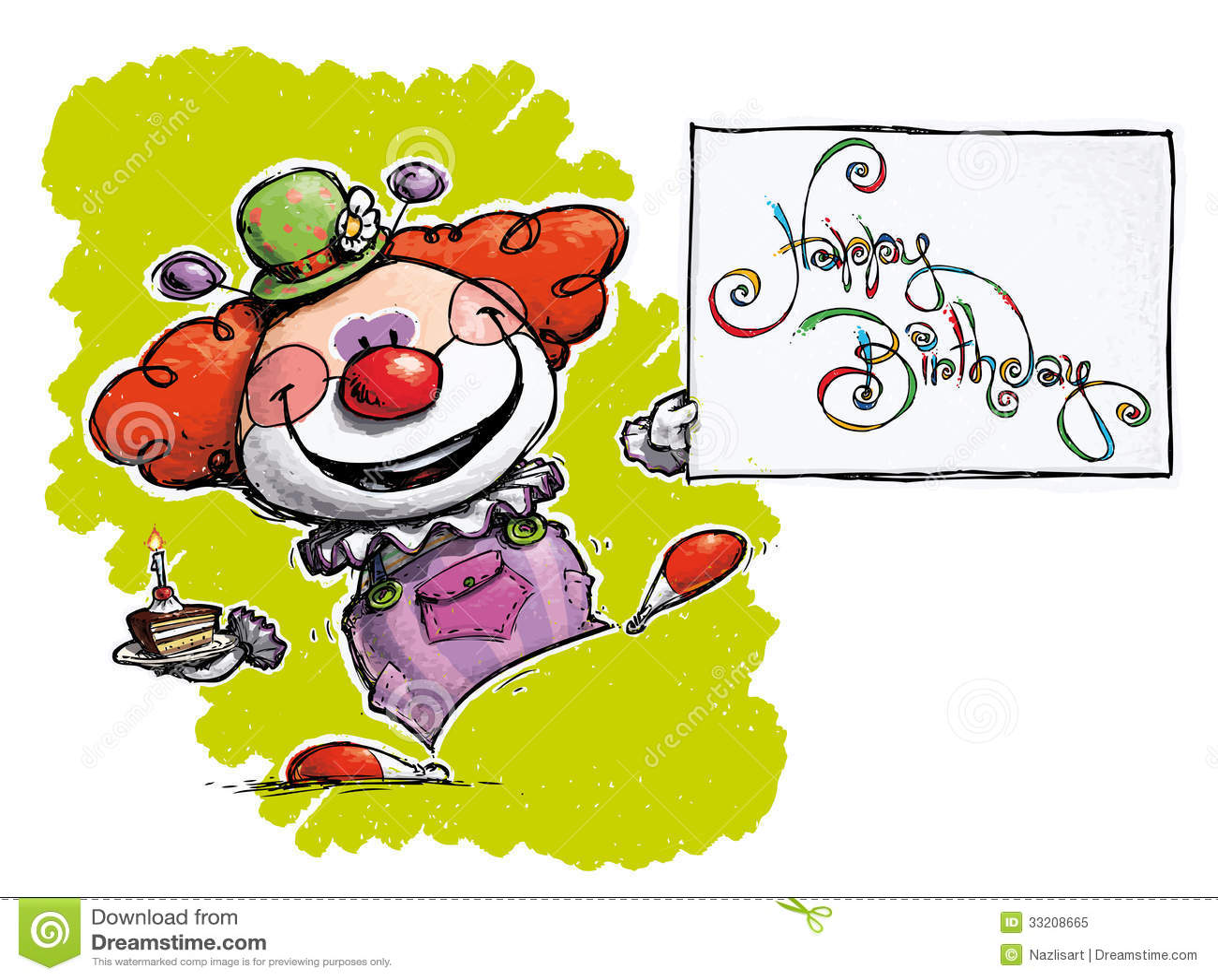 Clown Holding A Happy Birthday Card Royalty Free Photo – Clown Birthday Cards