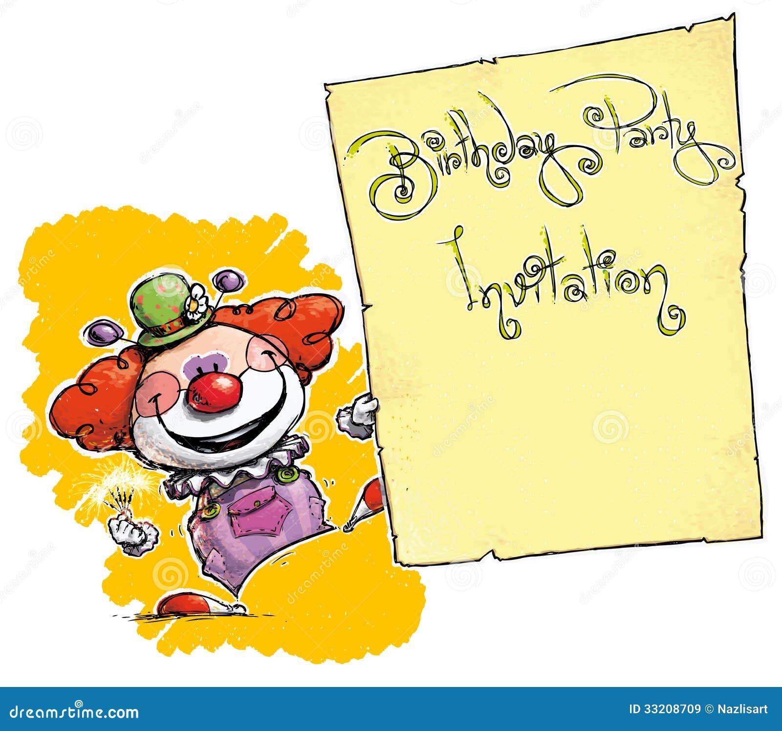 clown holding invitation birthday party stock vector illustration