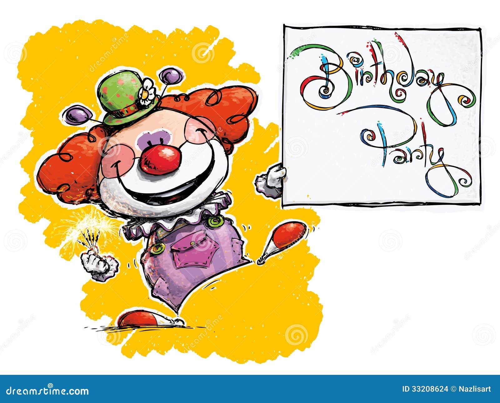 clown holding une carte de f te d 39 anniversaire images stock image 33208624. Black Bedroom Furniture Sets. Home Design Ideas