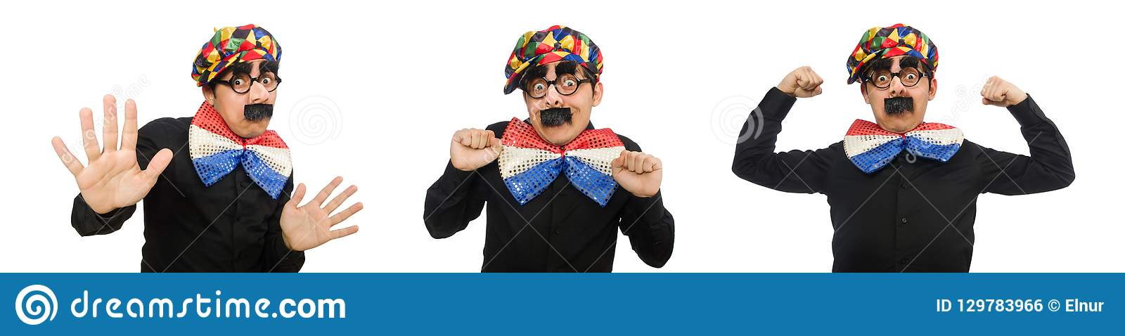 The clown isolated on the white background