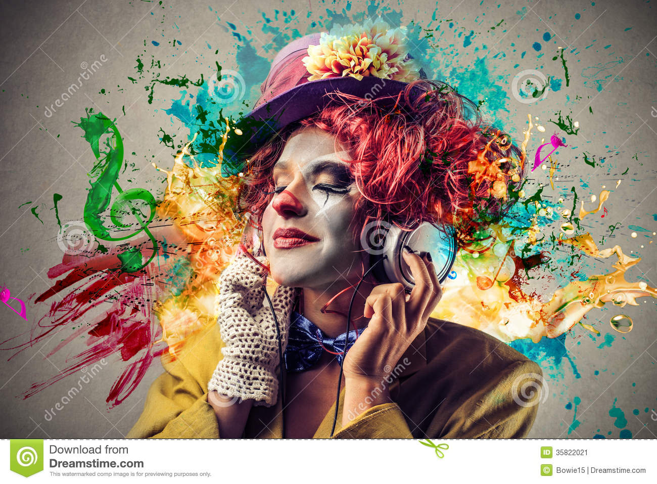 Clown listening to the music