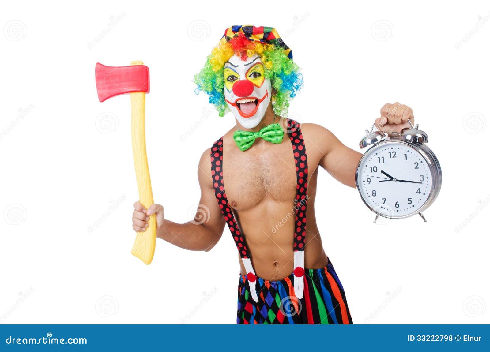 Clown med klockan och yxan