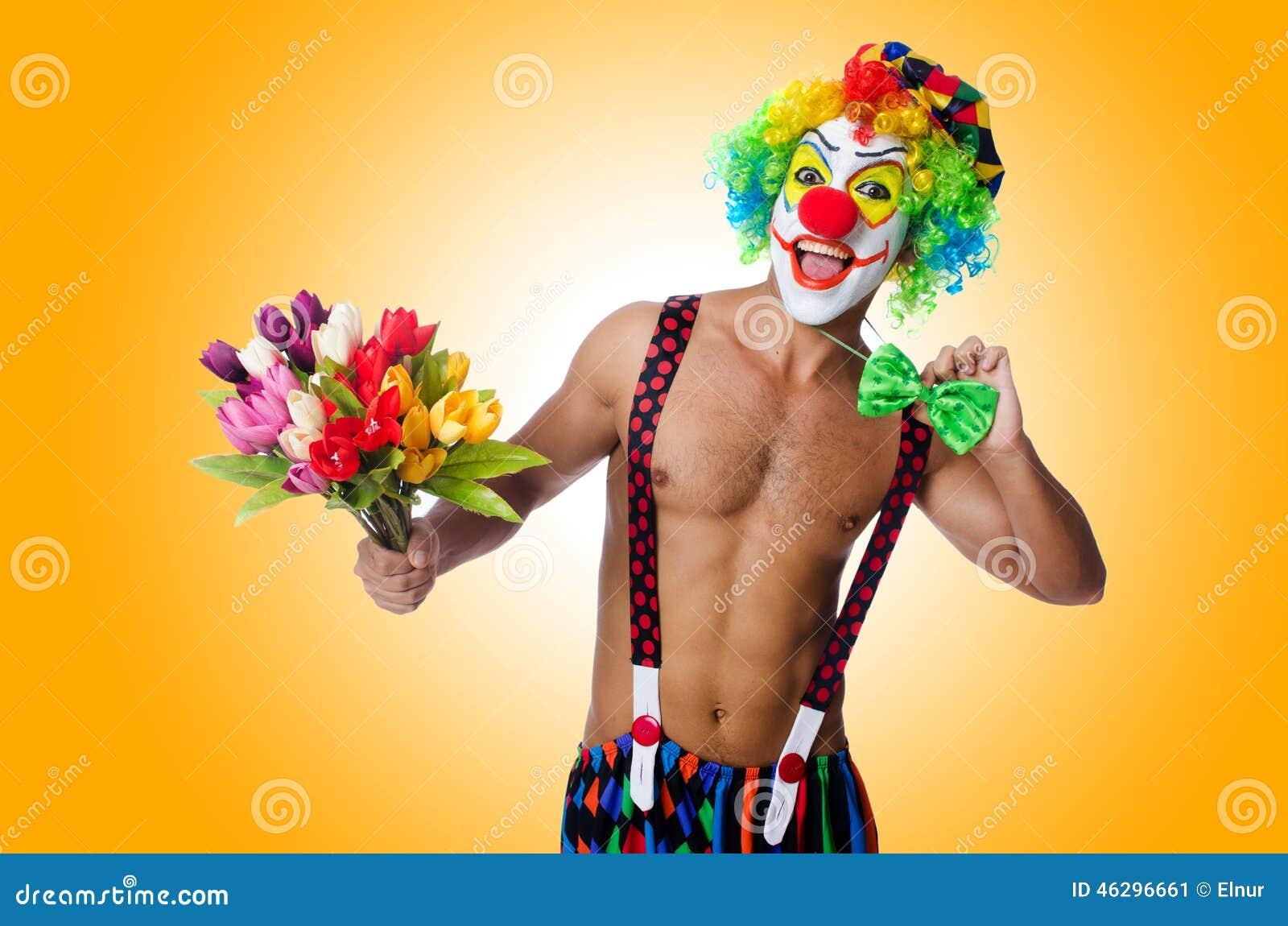 Clown mit Blumen