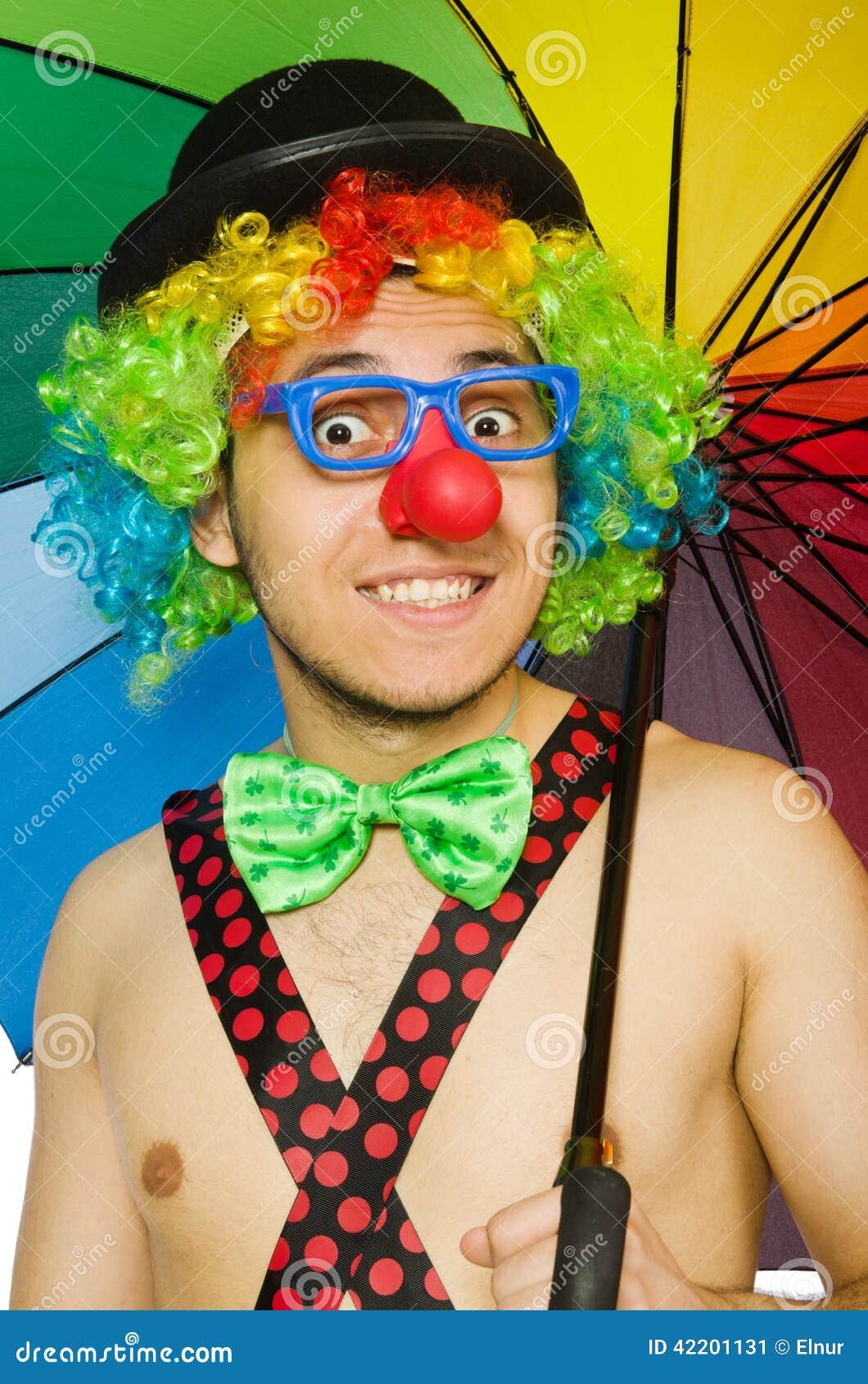 Clown mit Regenschirm