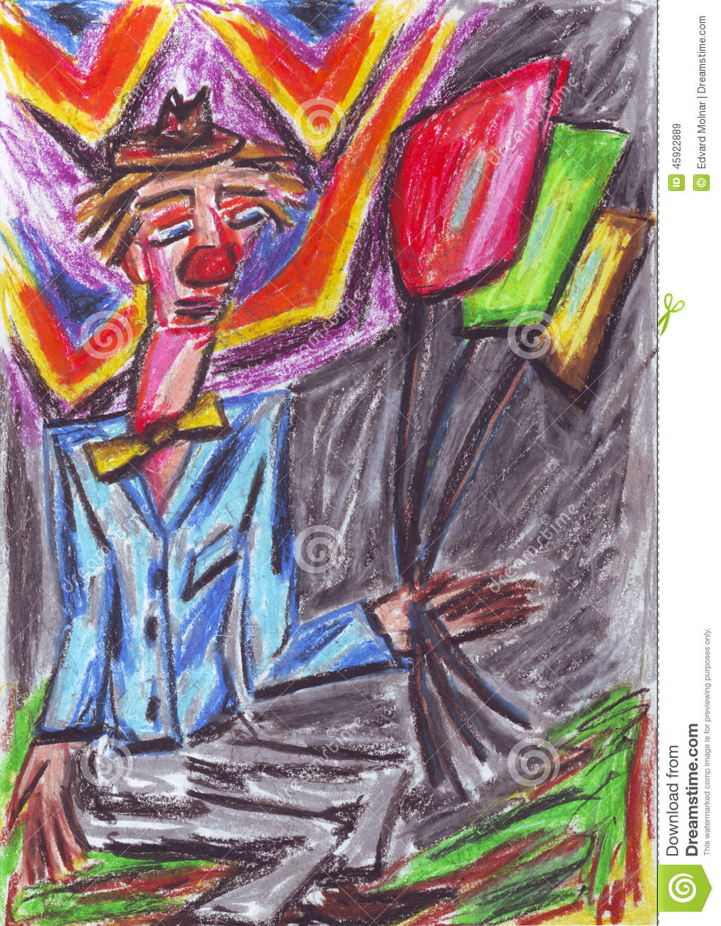 Clown oil pastel painting stock illustration  Illustration of crazy