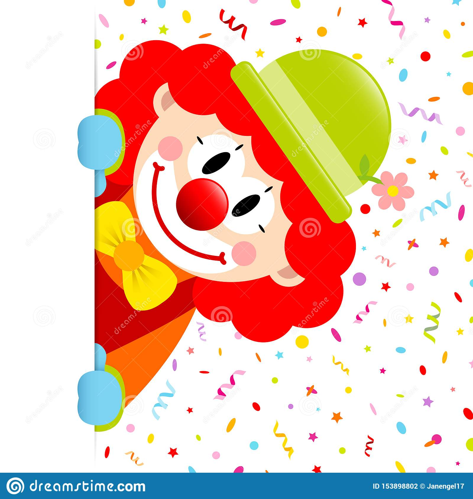 Clown With Red Hair Vertical Banner Right Streamers And Confetti