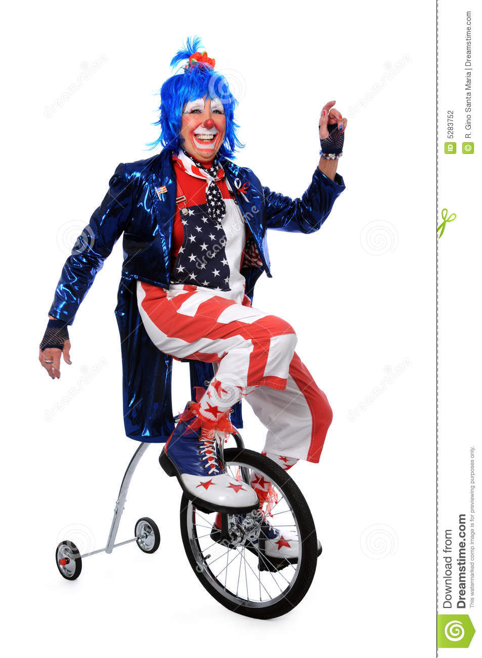 Clown Riding Unicycle With Training Wheels Stock Photography - Image ...