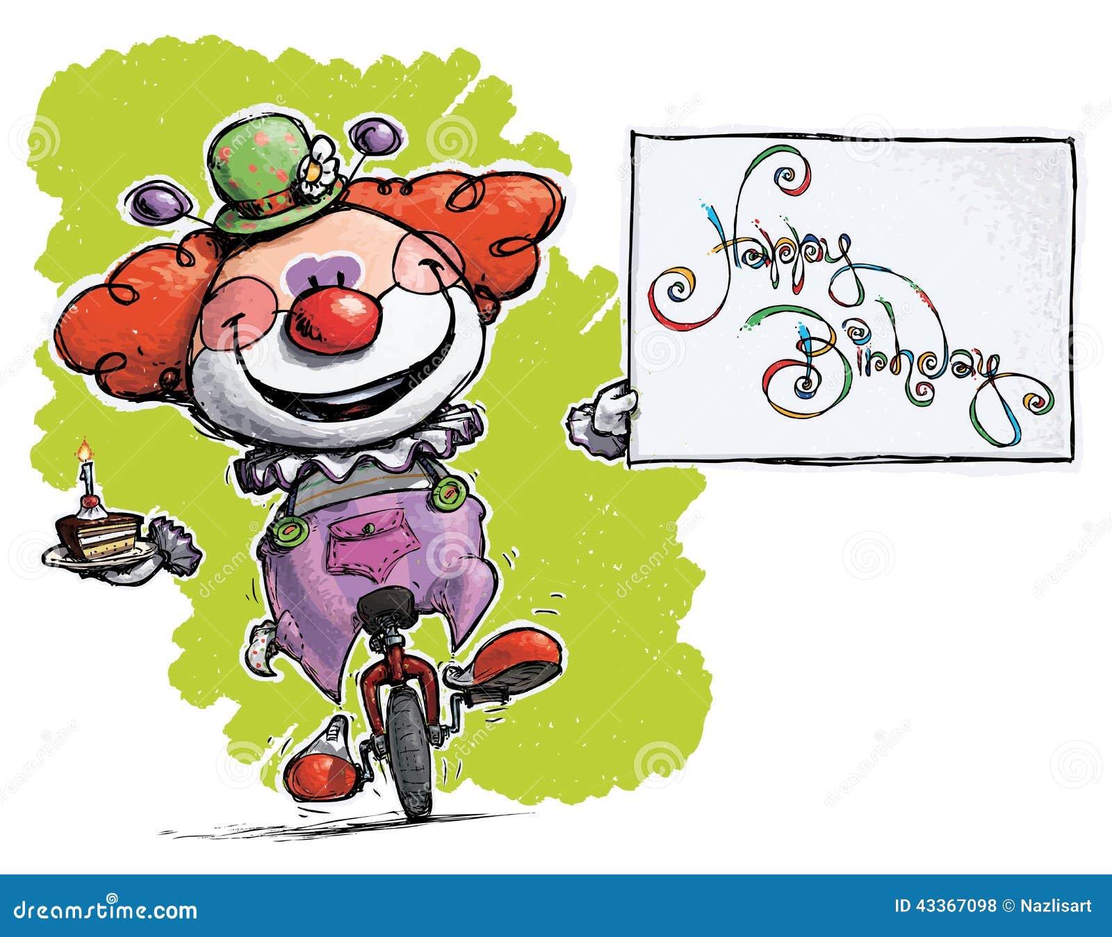 clown sur le monocycle tenant une carte de joyeux anniversaire illustration de vecteur. Black Bedroom Furniture Sets. Home Design Ideas