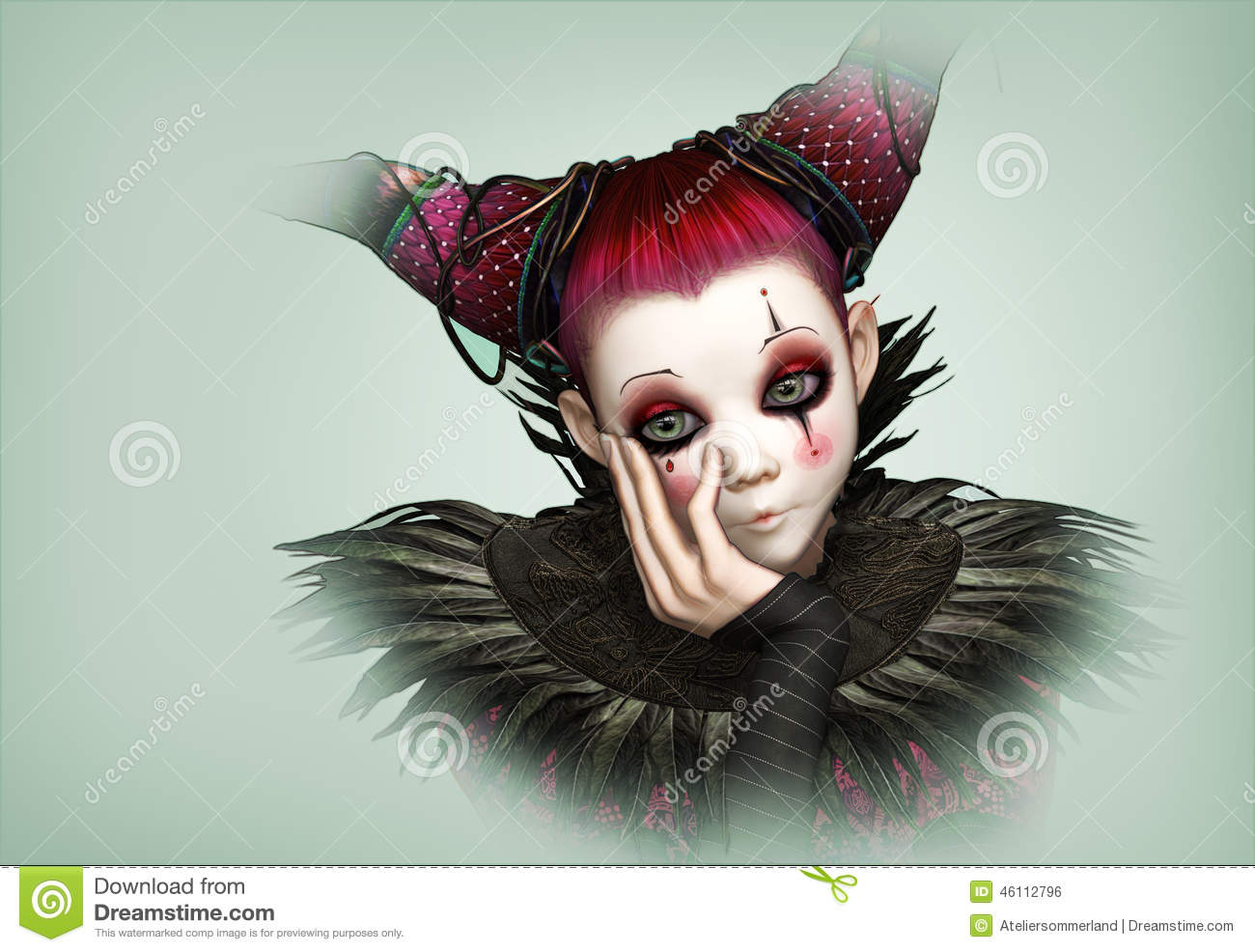 Clown Triste 3d Cg Illustration Stock Illustration Du Dessins