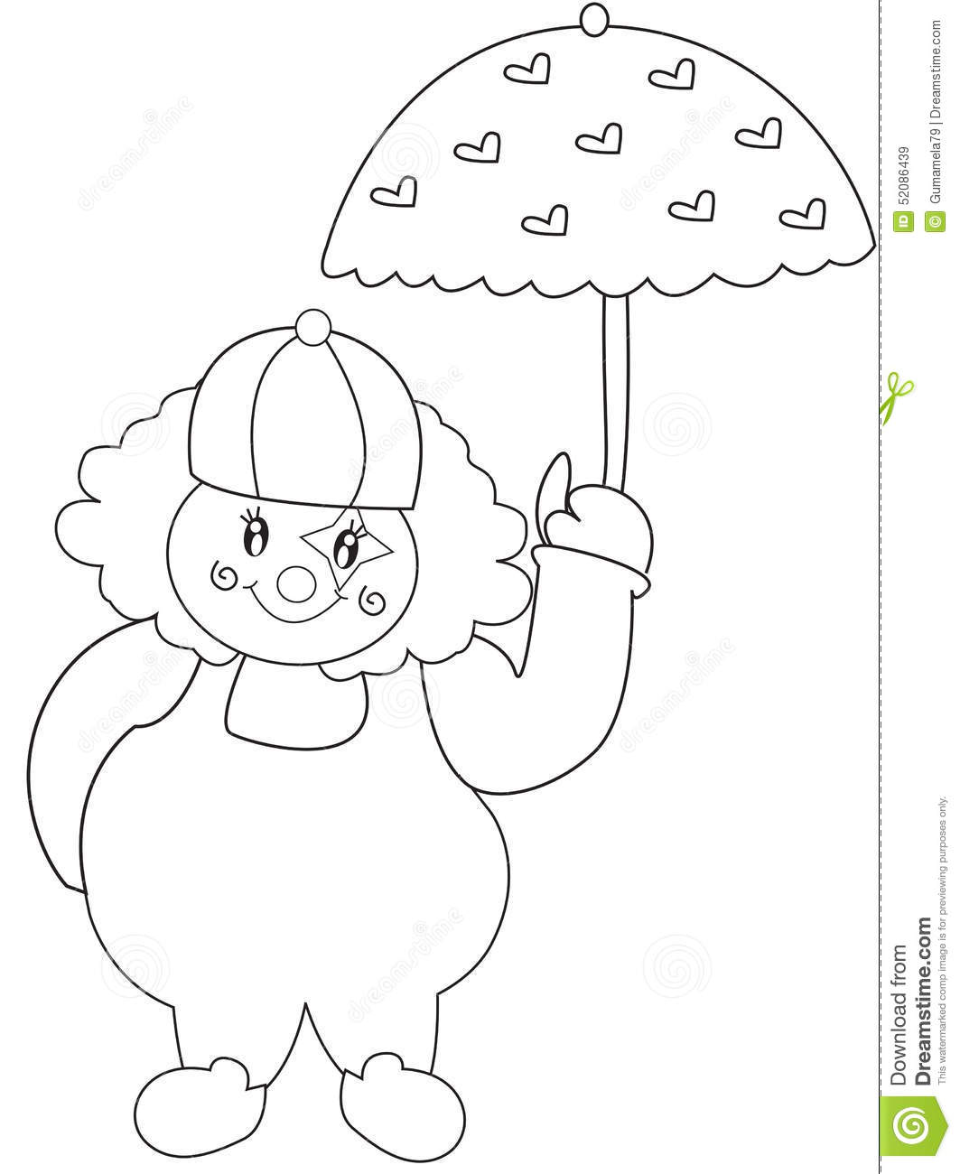 Clown With Umbrella Coloring Page Stock Illustration Illustration