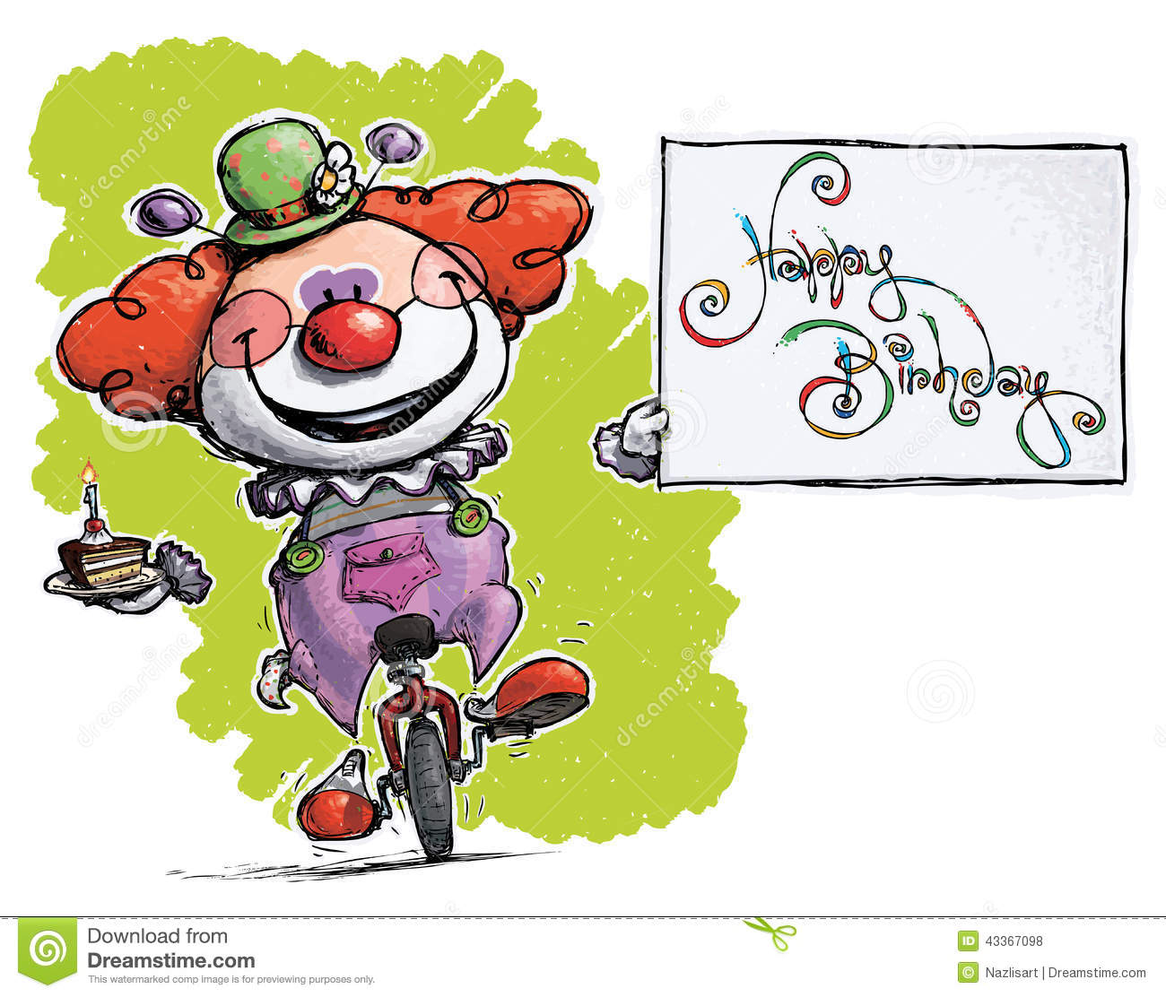 Clown On Unicycle Holding A Happy Birthday Card Vector – Clown Birthday Cards