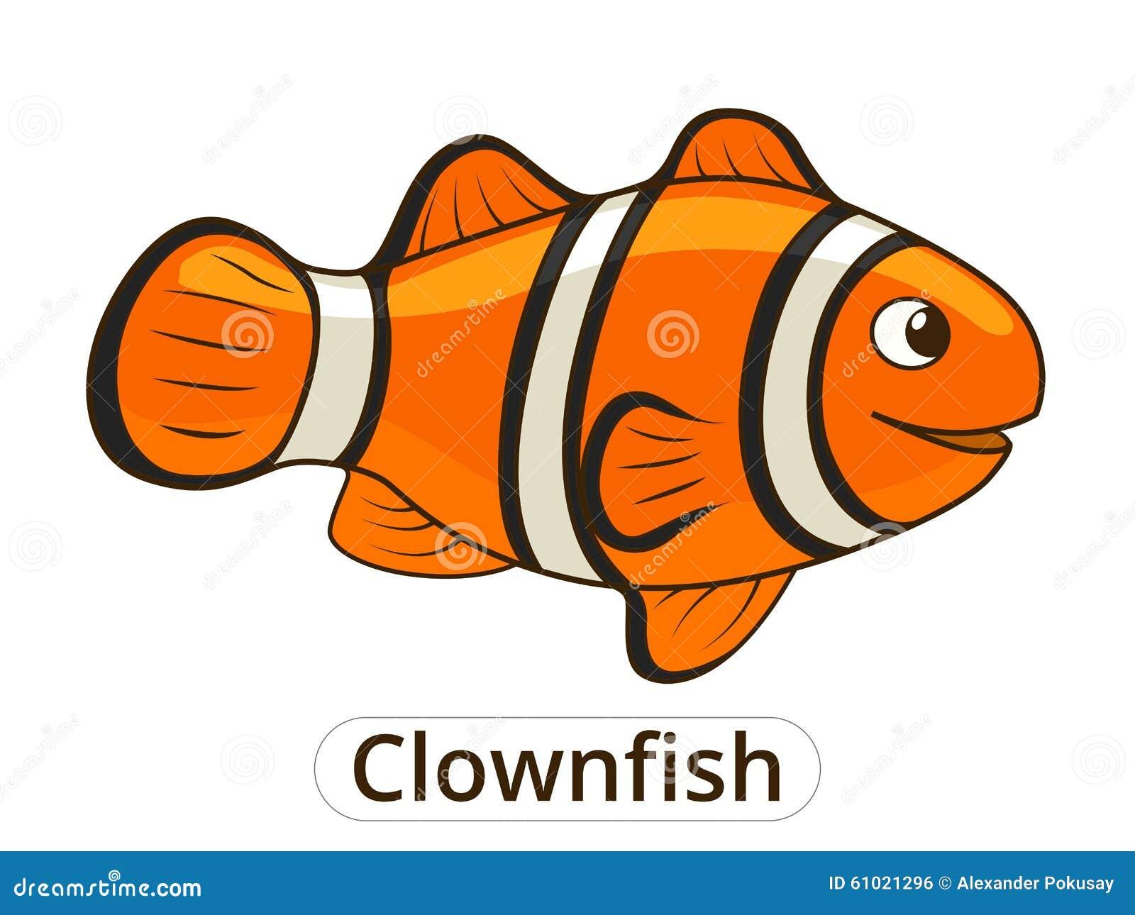 Clownfish Sea Fish Cartoon Illustration Stock Vector ...