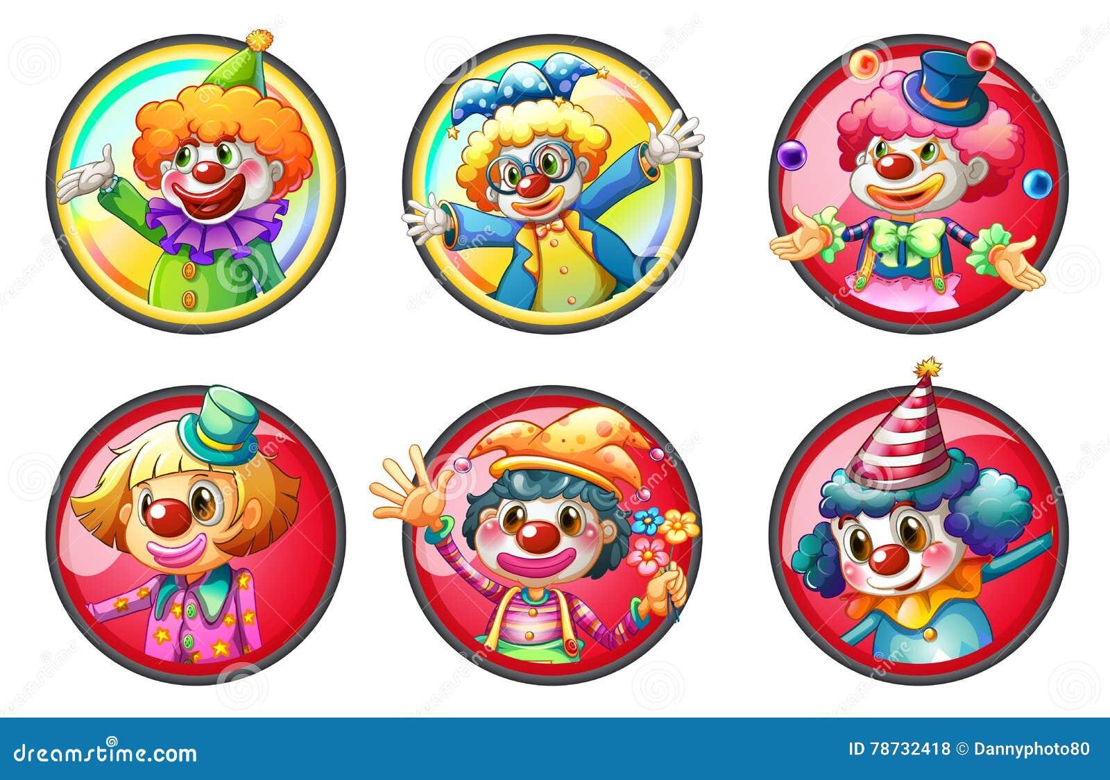 Clowntecken på runda emblem