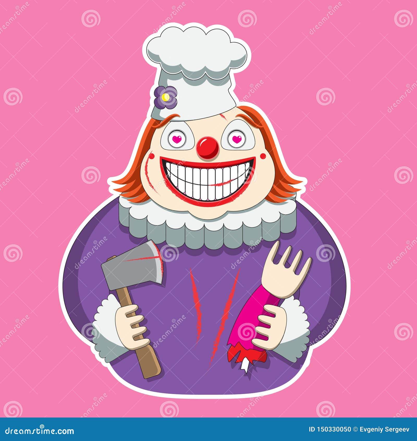 Clownteckenet i hatten för kock s rymmer en yxa och en lem bild