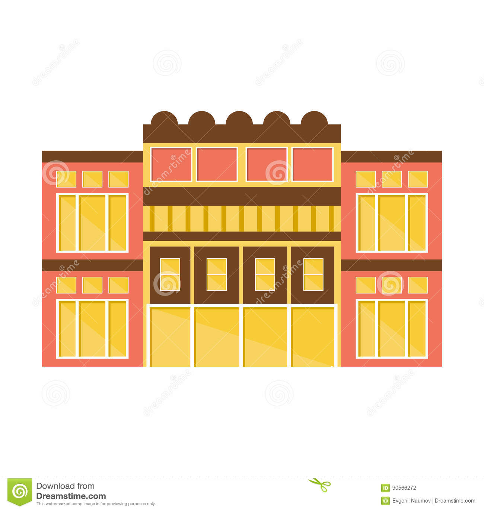 Clssical桃红色和黄色商城现代大厦外部设计项目模板被隔绝的平的例证