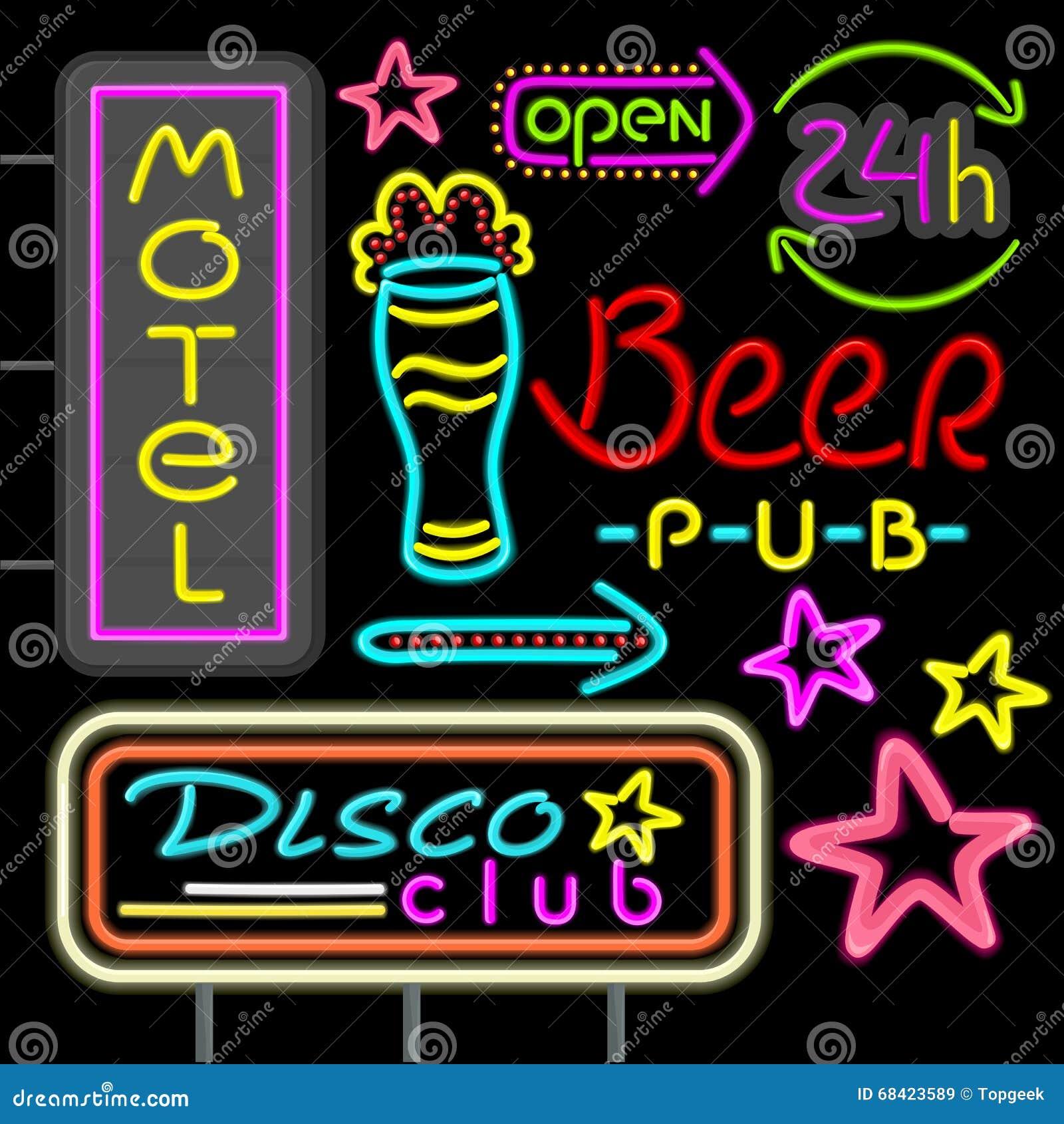 3a8661b31babe6 Club Au Néon De Disco D enseigne, Conception De Bar De Bière Plate ...