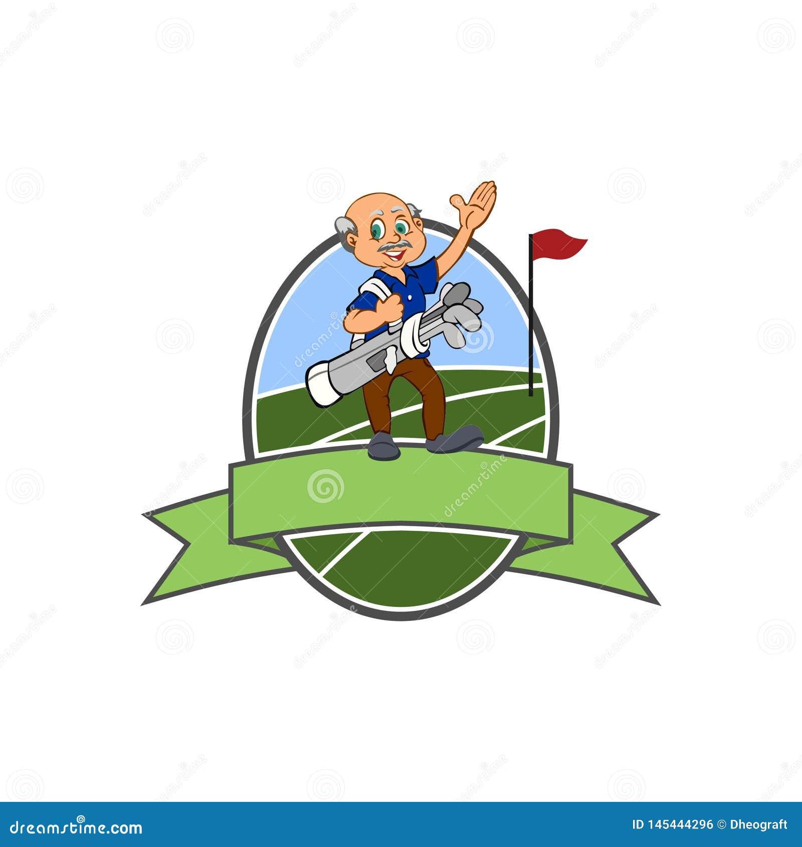 Club de golfeur de vieil homme - logo de golf - ovale