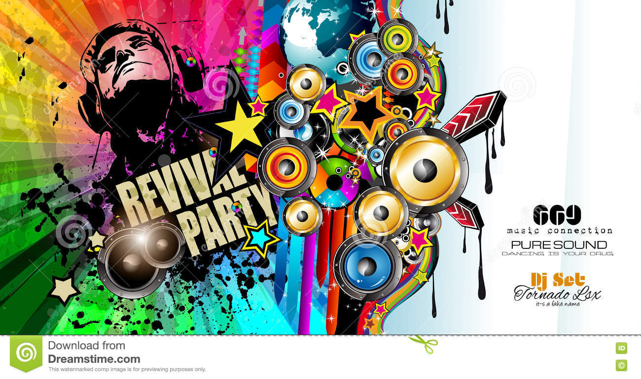 Club Disco Flyer Template With Music Elements Stock Vector ...