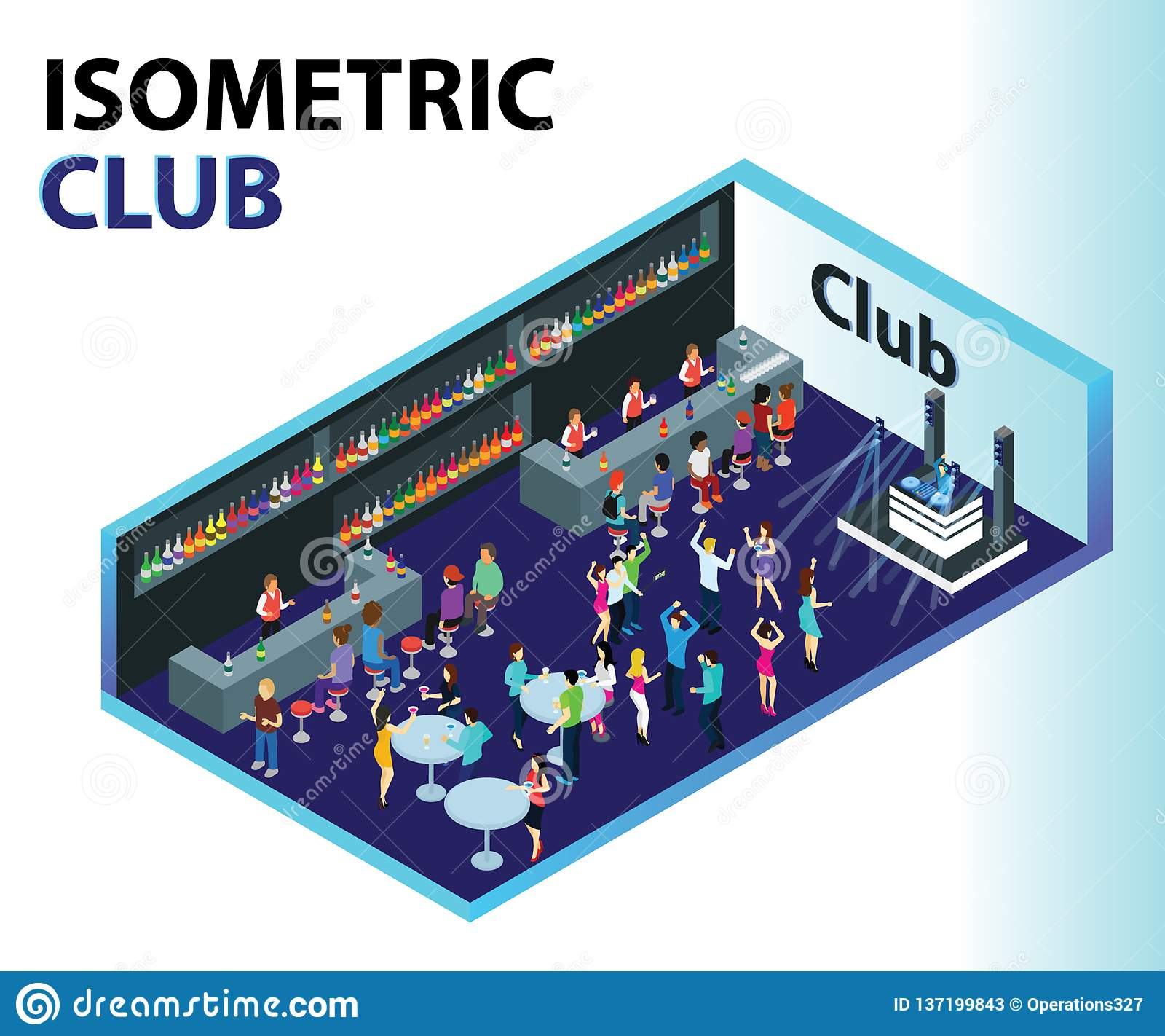 Club Isometric Artwork Concept where people are partying.