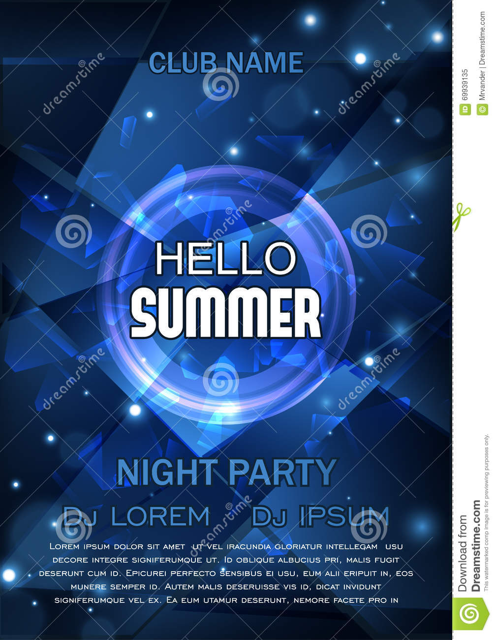 Club Party Flyer. Hello Summer Party Flyer. Vector Design. A4 Size ...