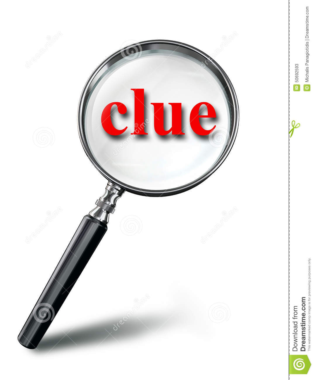 Mystery: Clue Red Word Mystery Concept With Magnifying Glass Stock