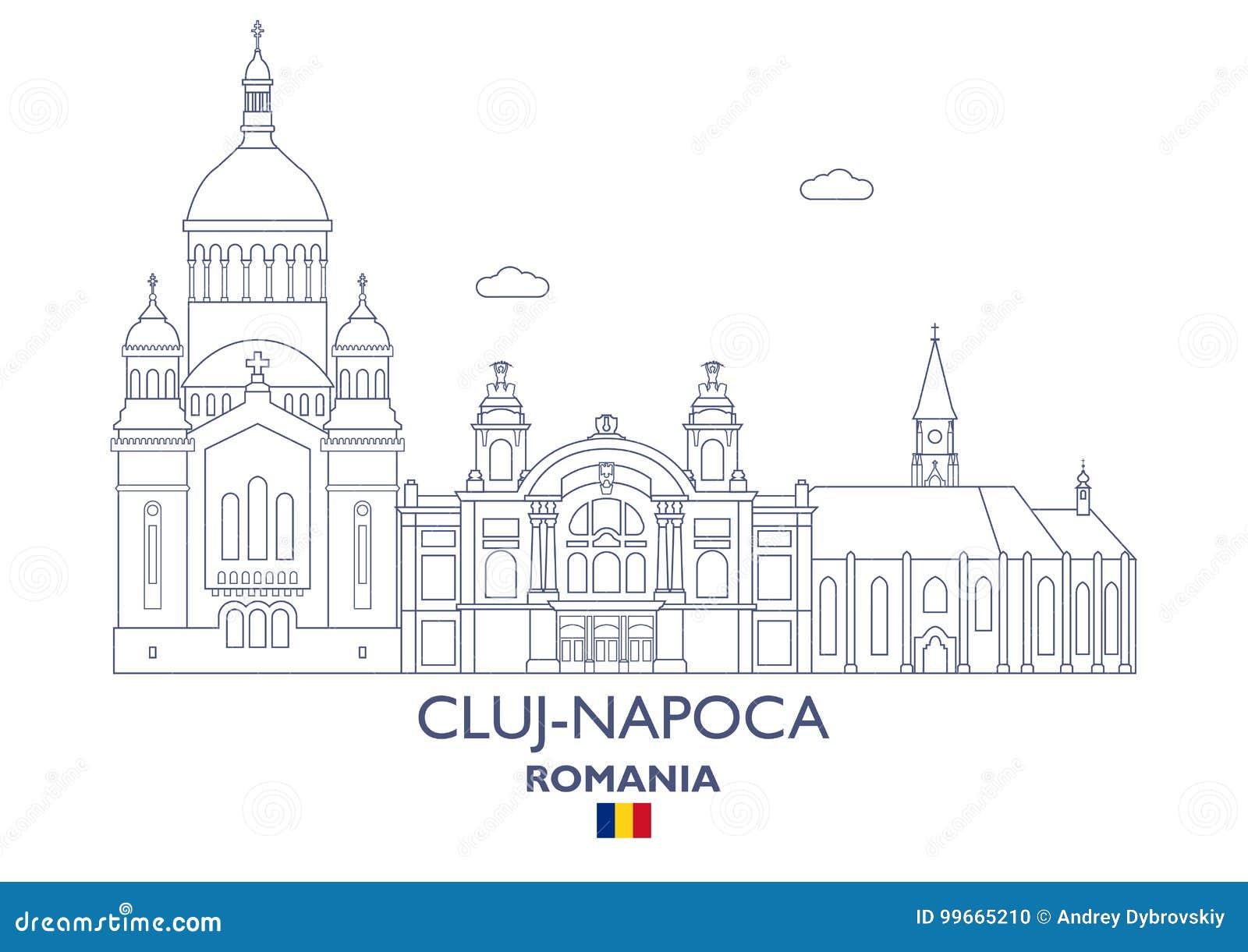 Cluj miasta linia horyzontu, Rumunia