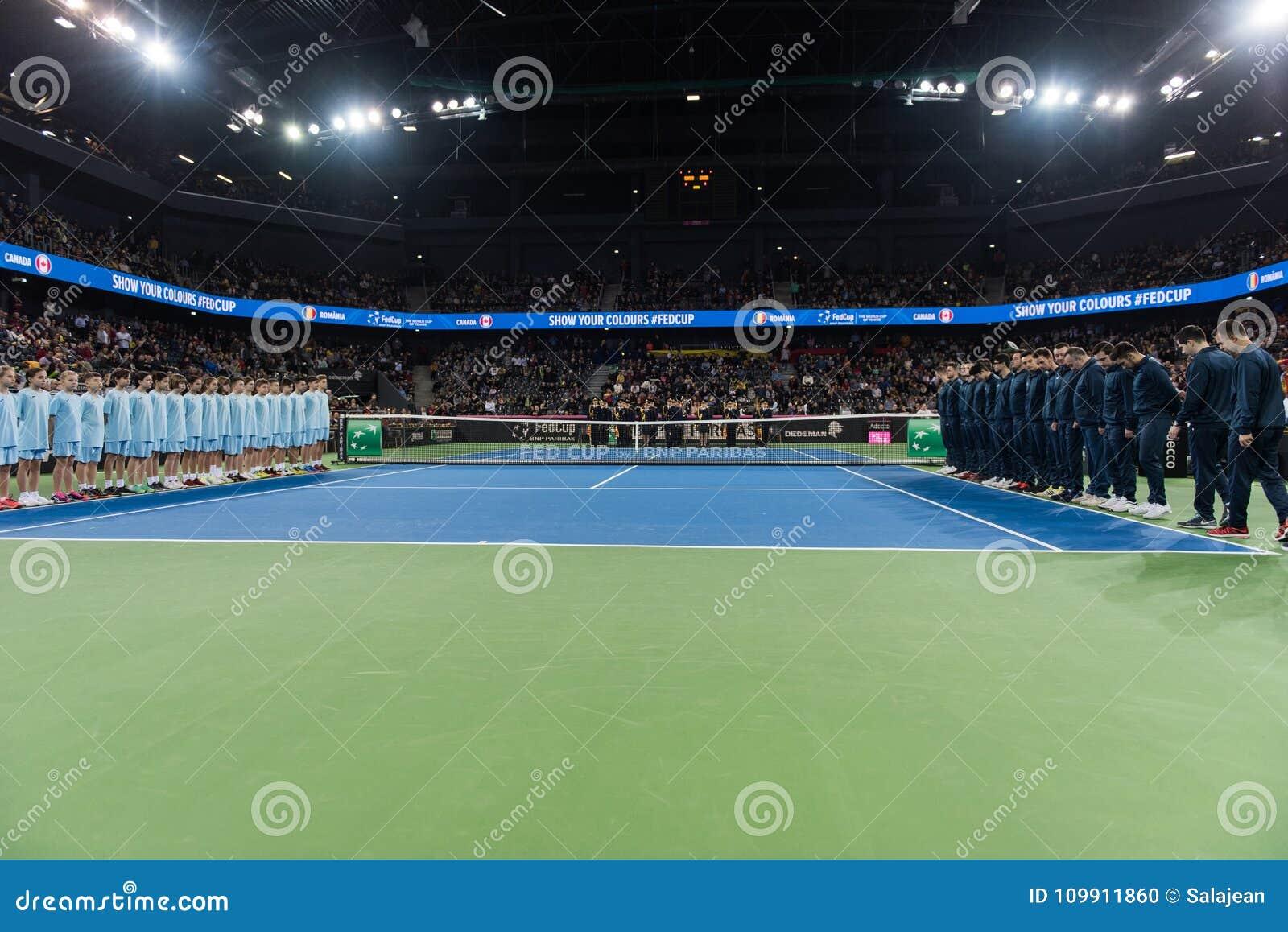 Tennis match opening ceremony