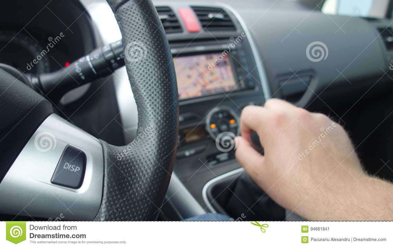 Cluj Napoca/Romania-June 19, 2017: Toyota Auris and a man hand changing gears