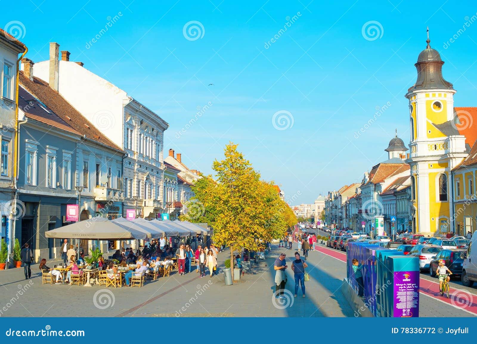 Cluj Napoka straat de van de binnenstad roemenië