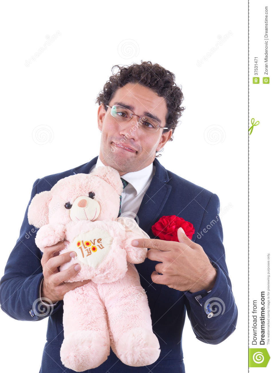 Clumsy Man Holding A Teddy Bear Stock Image Image Of