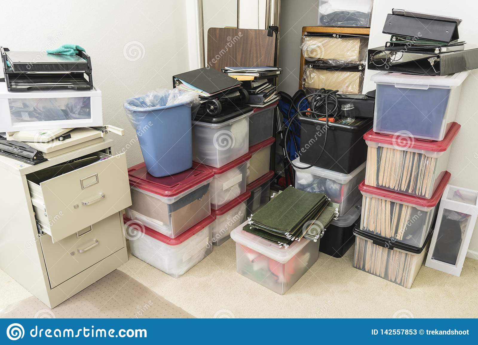 Cluttered Corner In Small Office Stock Image Image Of Unit Full 142557853