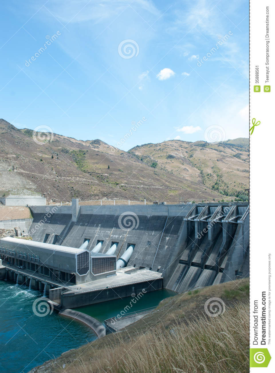Clyde New Zealand  city photos : Clyde Power Station Dam, Otago, South Island, New Zealand Stock Image ...