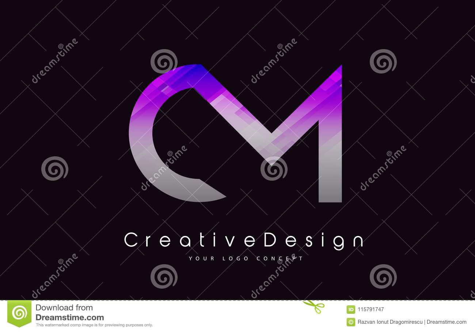 Cm-Brief Logo Design Purper Textuur Creatief Pictogram Moderne Lette