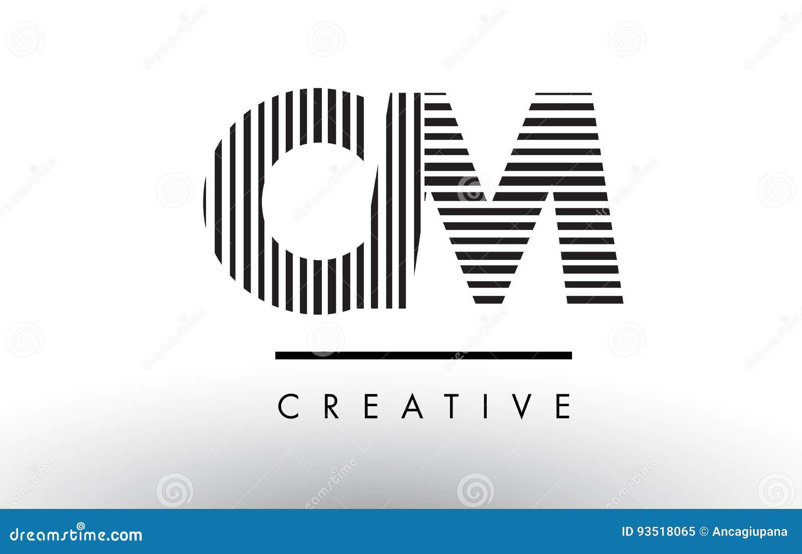 Line Logo Design : Cm c m black and white lines letter logo design stock