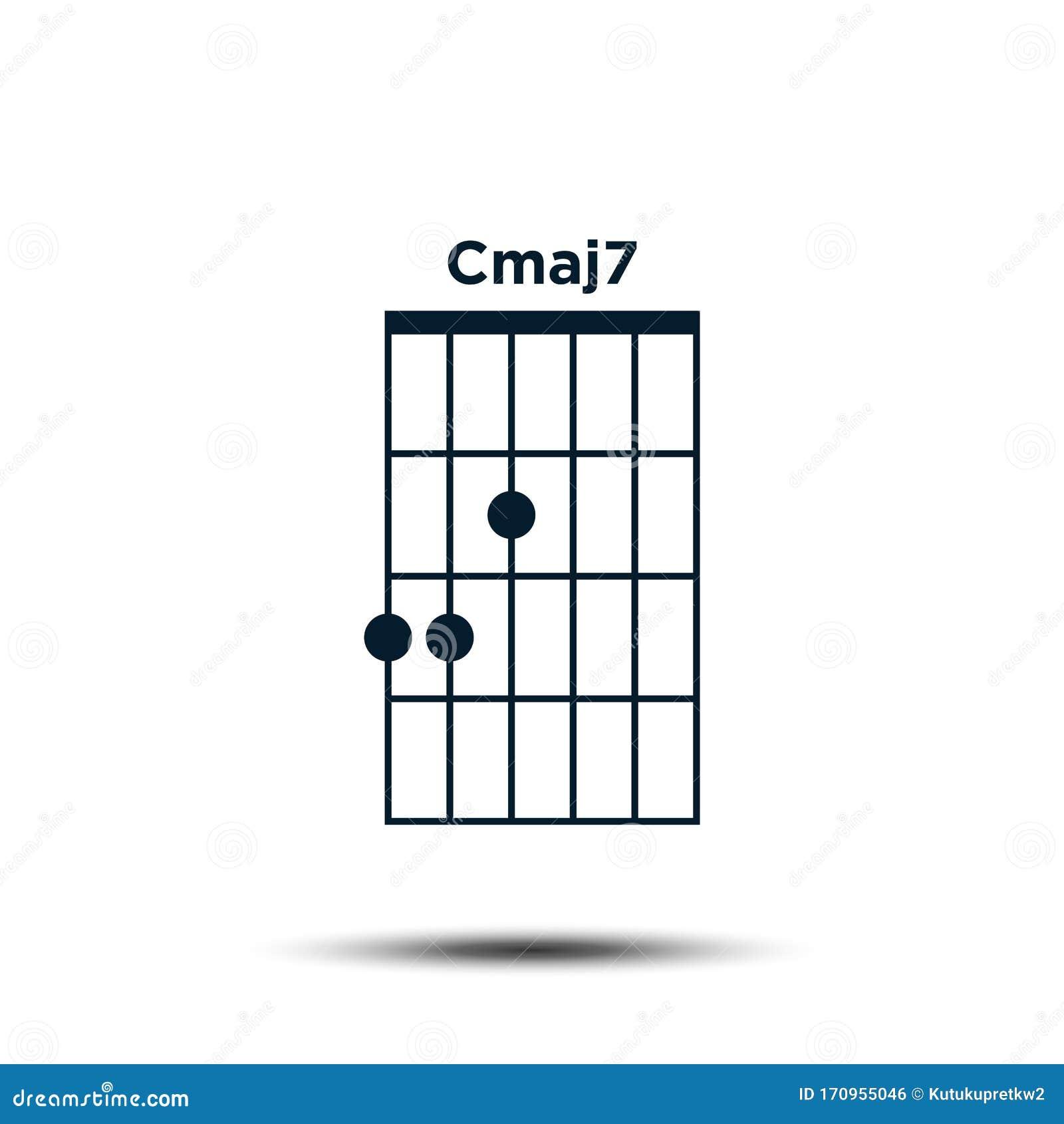 Cmaj15, Basic Guitar Chord Chart Icon Vector Template Stock Vector ...