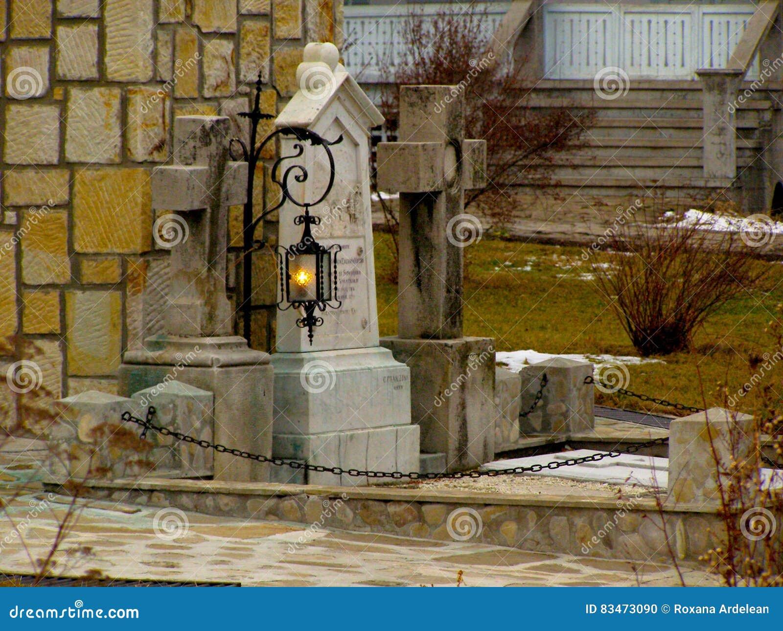 Cmentarz świeczki Grobowa Krzyża Tradyci Lampa Zdjęcie Stock