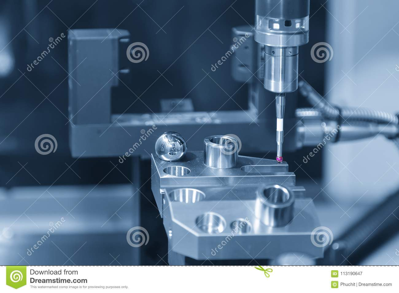 The CMM Probe Attach On The CNC Milling Machine Stock Image - Image ...