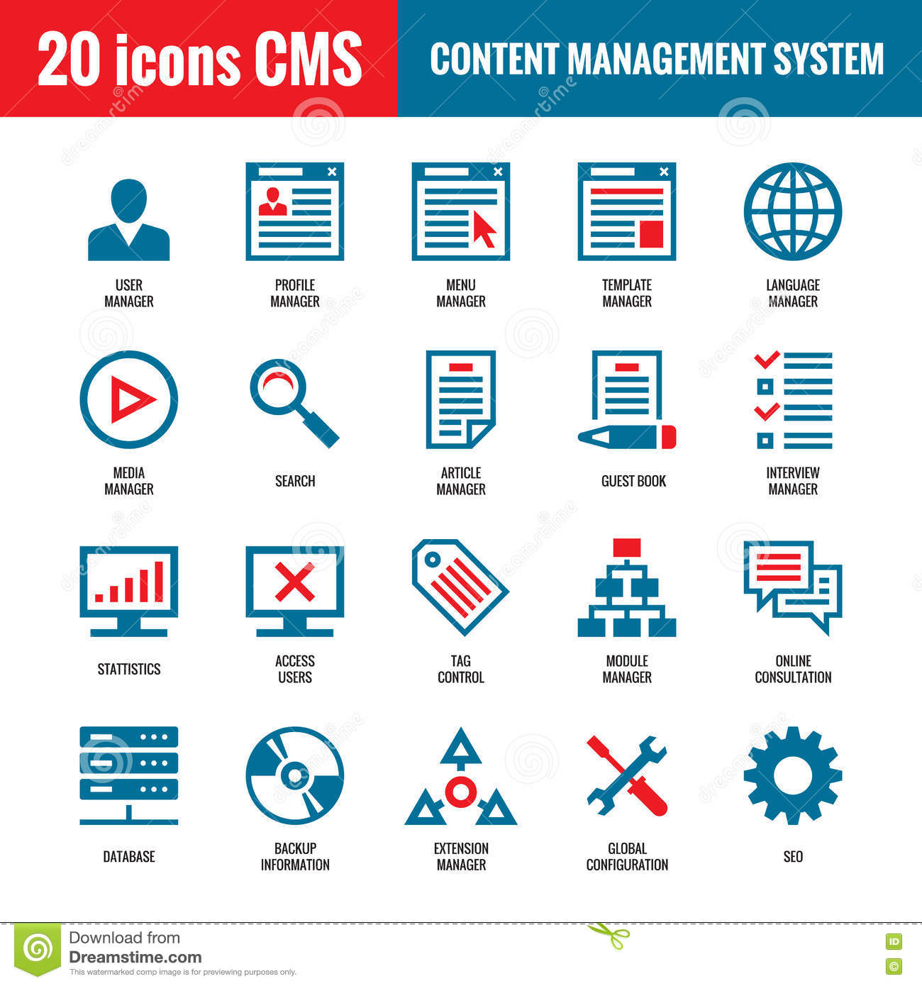 CMS - Content Management System - 20 Vector Icons. SEO - Search Engine Optimization Vector Icons ...