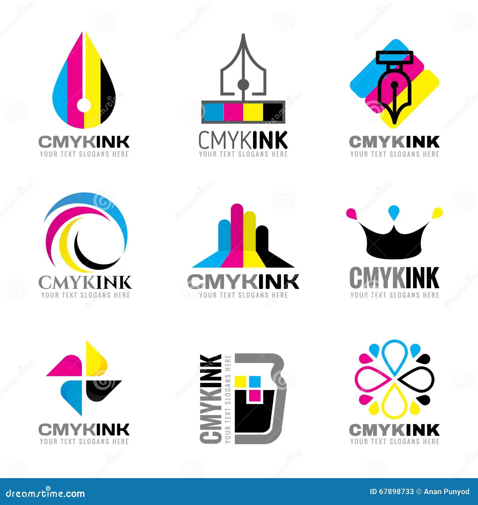 CMYK墨水商标传染媒介布景深蓝和洋红色和黄色和关键(黑)颜色