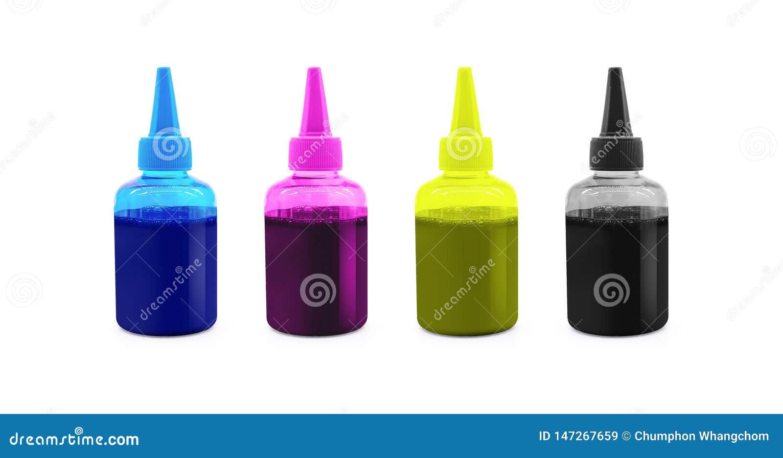CMYK atramentu butelka dla drukarki maszyny na odosobnionym tle z ścinek ścieżką