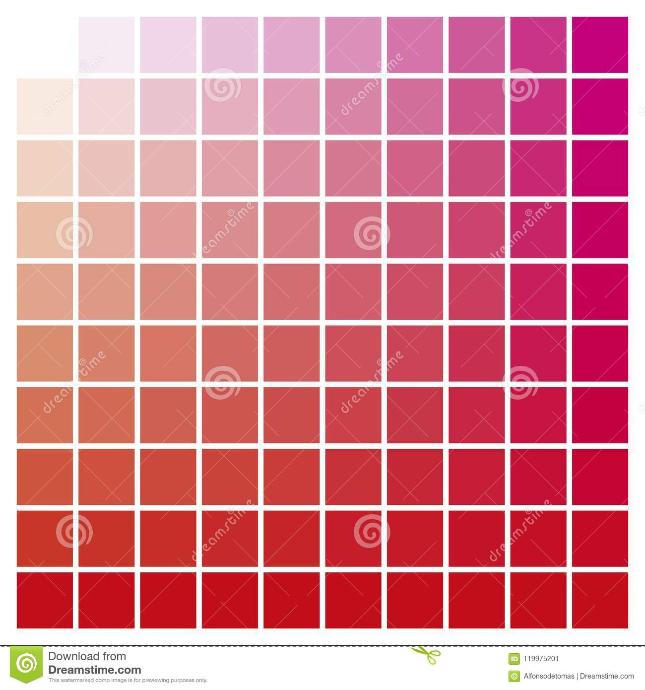 Color Chart Red Magenta Print Production Color Guide Ink Catalog ...