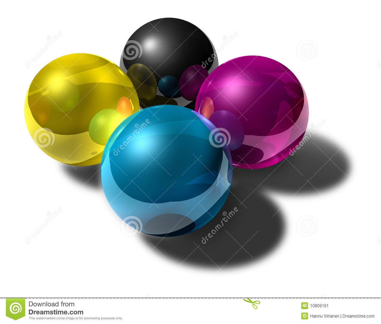 Cmyk colored reflective balls
