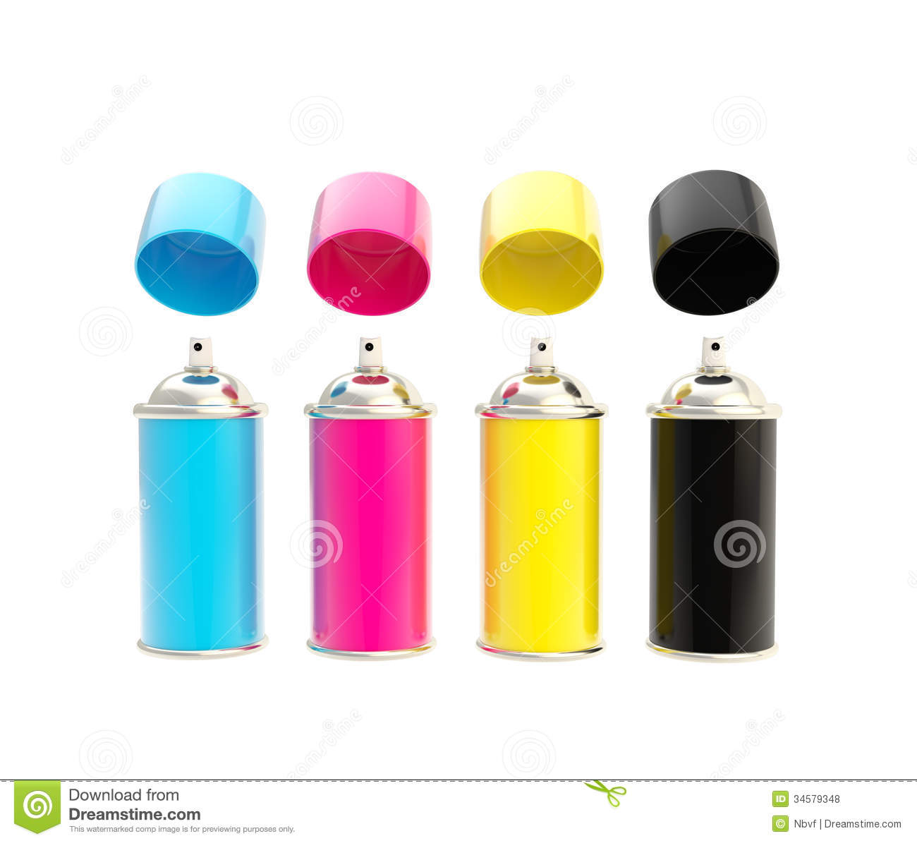 Cmyk Colored Spray Oil Color Cylinders Isolated Stock