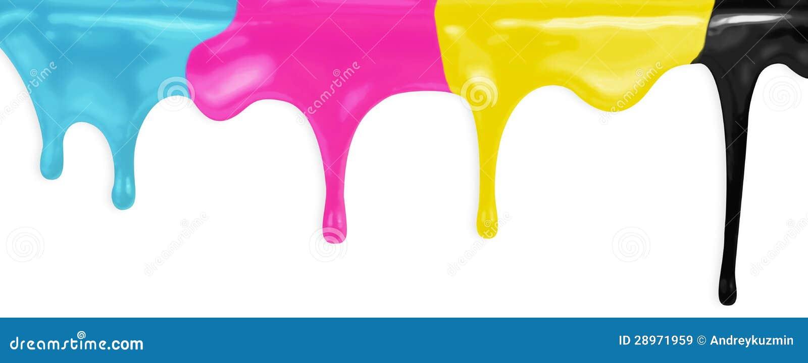 CMYK cyan magenta żółty czerń maluje z ścinek ścieżką