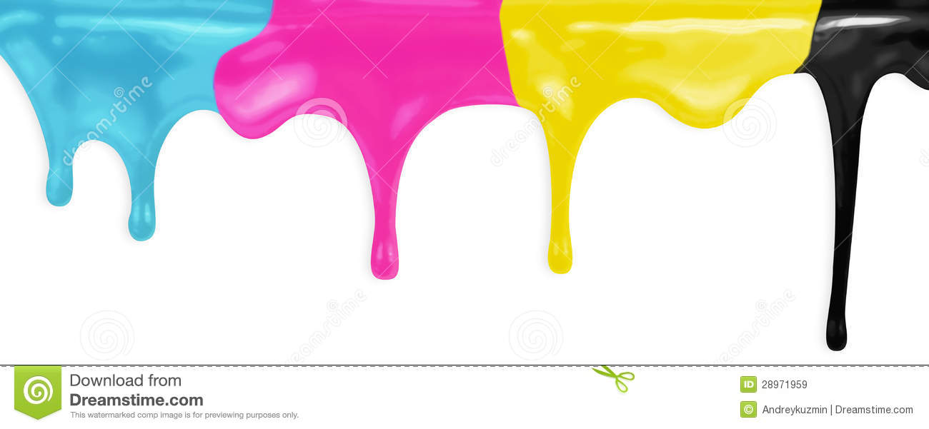 Cmyk cyan magenta yellow black paints with clipping path royalty free
