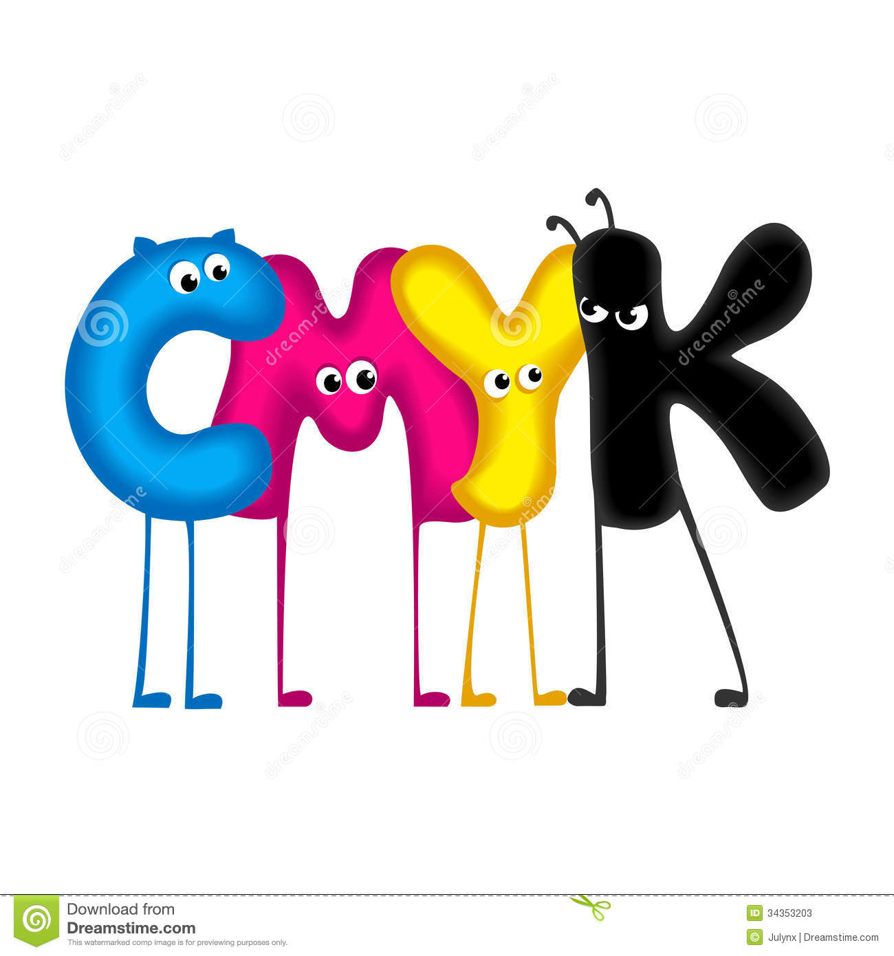 funny letters white background cmyk color for printing