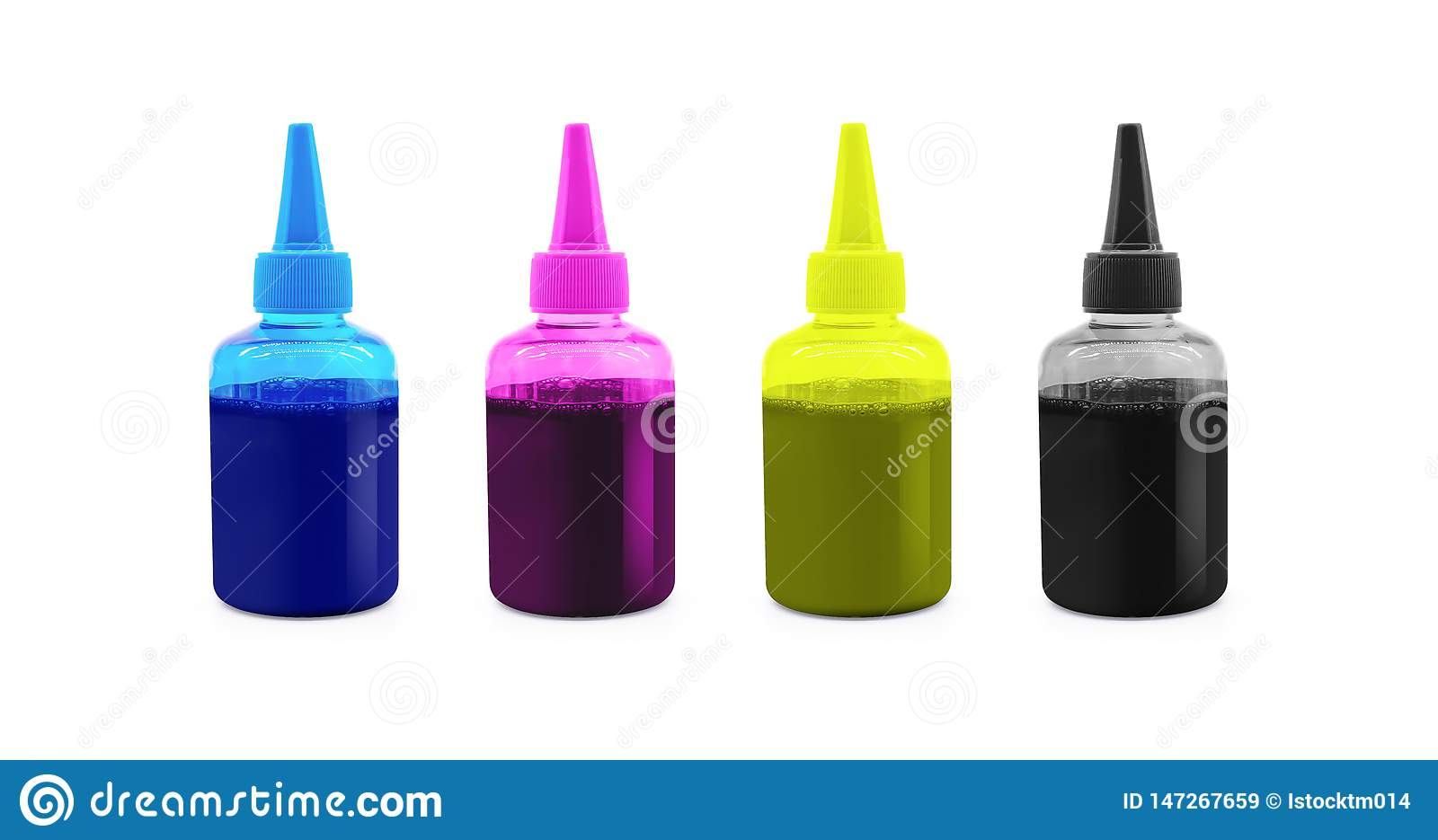 CMYK ink bottle for printer machine on isolated background with clipping path