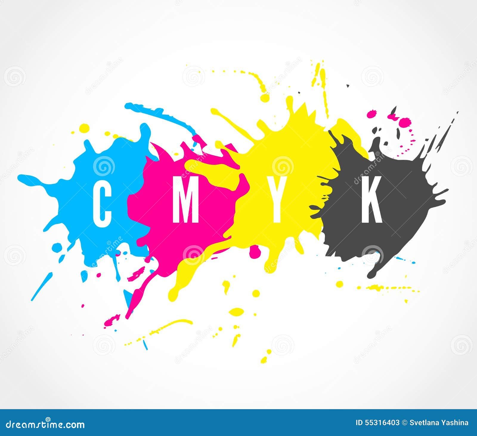 CMYK Ink Splashes Logo Stock Vector