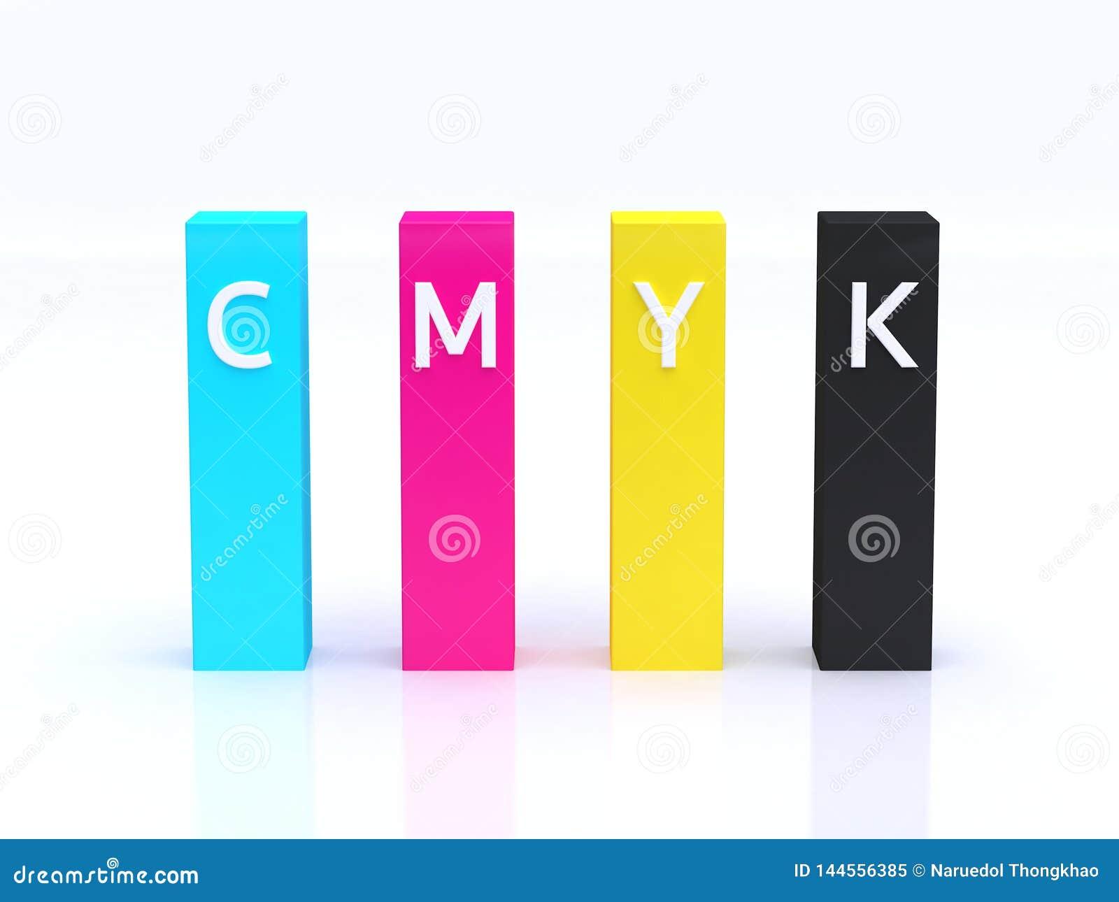 CMYK koloru wykresu zapowiedzi cyan magenta żółtego czarnego podłogowego odbicia tła 3d biały rendering