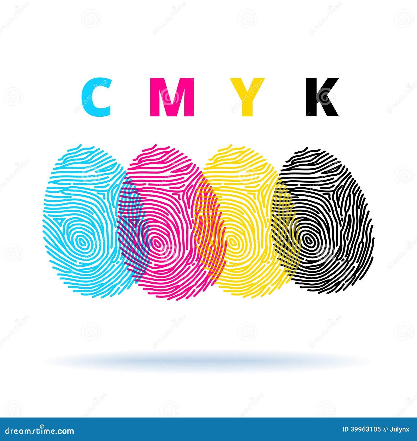 Cmyk Konzept Mit Fingerabdrucken Vektor Abbildung Illustration Von